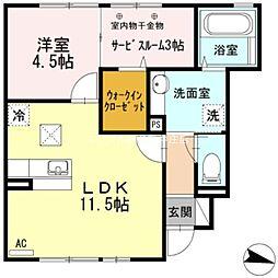 岡山県総社市真壁の賃貸アパートの間取り
