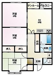サンシャインEBARA A棟[201号室]の間取り