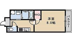 南海高野線 浅香山駅 徒歩5分の賃貸マンション 2階1Kの間取り