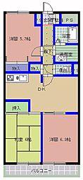 サンハイム中央[3階]の間取り