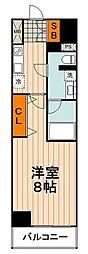 東京メトロ南北線 王子神谷駅 徒歩7分の賃貸マンション 8階1Kの間取り