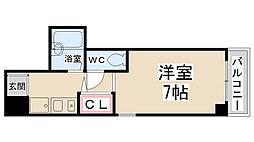 ディアコート川西弐番館 6階1Kの間取り