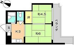 福岡県北九州市八幡西区幸神2丁目の賃貸マンションの間取り