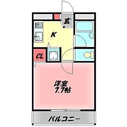 TAIHOレジデンス大日III 2階1Kの間取り