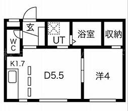 PALMYRA(パルミラ) 4階1DKの間取り