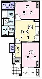 和歌山県和歌山市大垣内の賃貸アパートの間取り