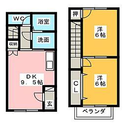 [テラスハウス] 岐阜県美濃加茂市牧野 の賃貸【/】の間取り