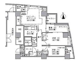 都営大江戸線 汐留駅 徒歩4分の賃貸マンション 24階2SLDKの間取り