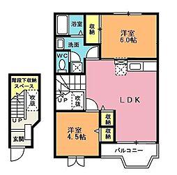 埼玉県北本市西高尾4丁目の賃貸アパートの間取り