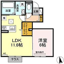 JR山陽本線 高島駅 徒歩9分の賃貸アパート 1階1LDKの間取り