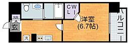 Osaka Metro谷町線 平野駅 徒歩2分の賃貸マンション 6階1Kの間取り