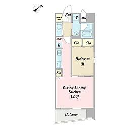 (仮称)中区山下町計画 6階1LDKの間取り