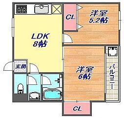 兵庫県神戸市東灘区御影3丁目の賃貸アパートの間取り