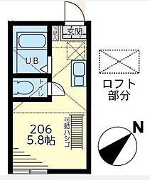 ヒルズ戸塚町[206号室]の間取り