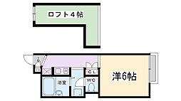 兵庫県伊丹市北園2丁目の賃貸アパートの間取り