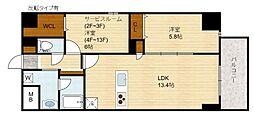 Domizil FUKU(ドミツィール福)[6階]の間取り