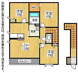 福岡県北九州市八幡西区上の原1丁目の賃貸アパートの間取り