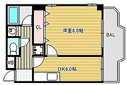 サンライズ南船場[6階]の間取り
