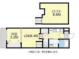 西鉄天神大牟田線 西鉄平尾駅 徒歩7分の賃貸アパート 2階1LDKの間取り