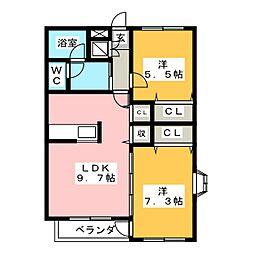 メルベーユ Y[1階]の間取り
