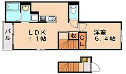 Urara2 2階1LDKの間取り