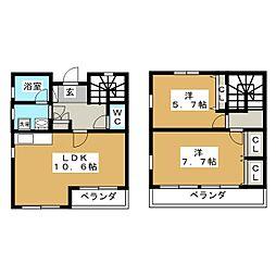 愛知県みよし市三好町西ノ木戸の賃貸マンションの間取り