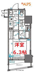 ZOOM横浜桜木町 11階1Kの間取り