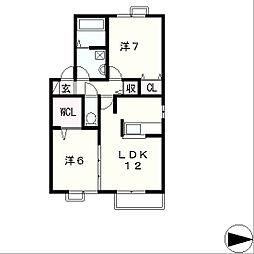 ヴェルコートA棟[2階]の間取り