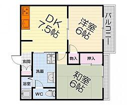 大阪府堺市西区浜寺諏訪森町中1丁の賃貸アパートの間取り