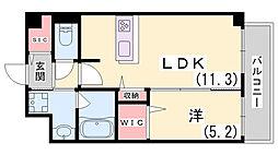 神戸市西神・山手線 新長田駅 徒歩14分の賃貸マンション 3階1LDKの間取り