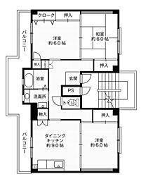 ビレッジハウス大島1号棟5階Fの間取り画像
