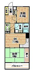 福岡県北九州市八幡西区陣山2丁目の賃貸マンションの間取り