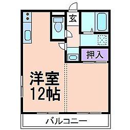 栃木県鹿沼市緑町1丁目の賃貸アパートの間取り