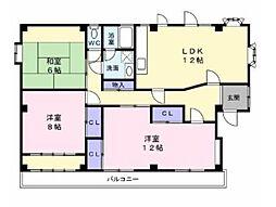 仙台市地下鉄東西線 八木山動物公園駅 徒歩5分の賃貸アパート 3階3LDKの間取り
