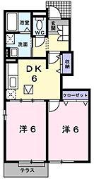 ピースコート(エアコン付き)[1階]の間取り