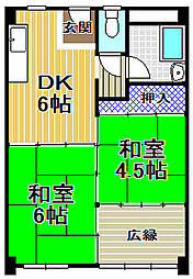 伝法団地1号棟[9階]の間取り