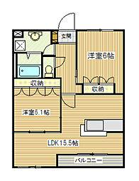 JR飯田線 伊那大島駅 徒歩8分の賃貸アパート 2階2LDKの間取り