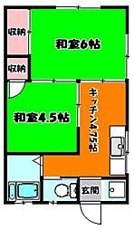 田中荘 201ごうしつ[2階]の間取り