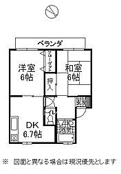 下諏訪町西高木 2階2DKの間取り