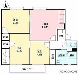 福岡県北九州市八幡西区浅川学園台3丁目の賃貸アパートの間取り
