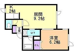 ピアチェーレ 2階1LDKの間取り