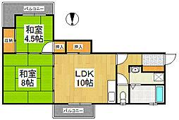 宮ノ陣コーポ[2階]の間取り