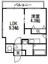 北海道札幌市豊平区豊平五条10の賃貸マンションの間取り