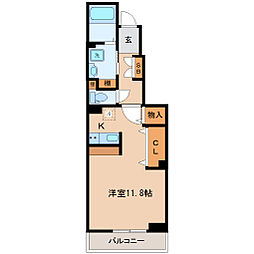 JR仙石線 榴ヶ岡駅 徒歩14分の賃貸アパート 1階ワンルームの間取り