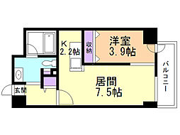 LEE東札幌B 4階1LDKの間取り
