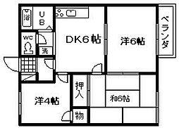 ラフィート東岸和田[102号室]の間取り