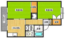 京都府京都市北区西賀茂今原町の賃貸アパートの間取り