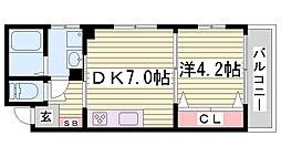 兵庫県神戸市灘区神前町1丁目の賃貸マンションの間取り