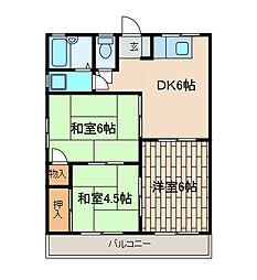 浅沼コーポA棟[2-D号室]の間取り