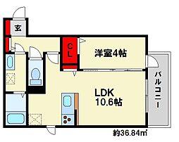 D-room麦野[C202号室]の間取り